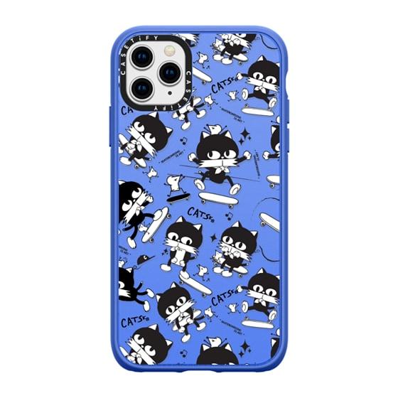 CASETiFY iPhone 11 Pro Max Casetify Black Impact Resistance Case - Cat Skateboard