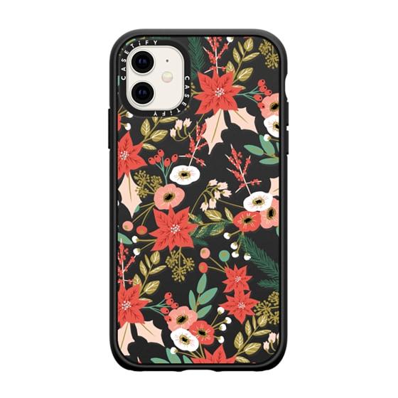 CASETiFY iPhone 11 Casetify Black Impact Resistance Case - WINTER FLORAL MIX