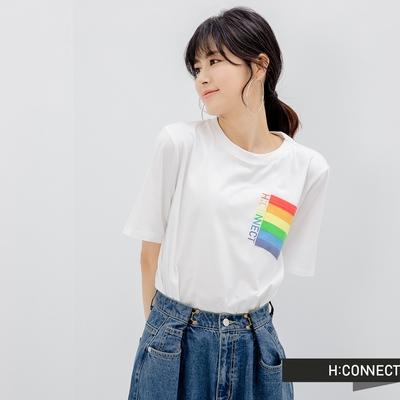 H-CONNECT 韓國品牌 女裝- 純棉彩虹印花口袋寬版T恤