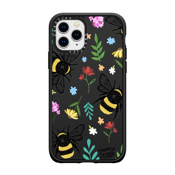 CASETiFY iPhone 11 Pro Casetify Black Impact Resistance Case - Bees In Love