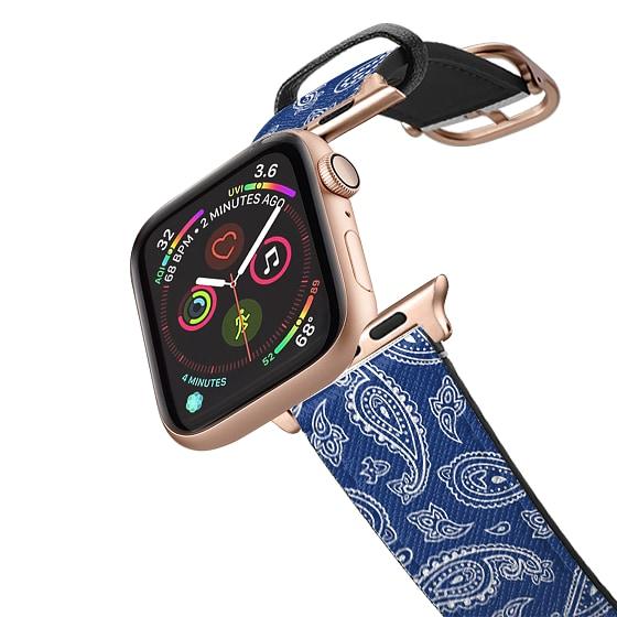 CASETiFY Apple Watch Band (42mm/44mm) Saffiano Leather Watchband V4 - BANDANA PAISLEY BLUE