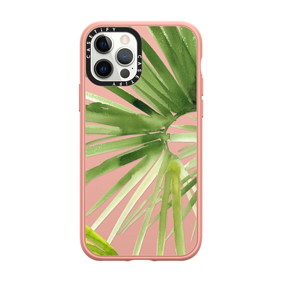 CASETiFY iPhone 12 Pro Casetify Black Impact Resistance Case - Tropical Watercolor Palm Leaves Trans