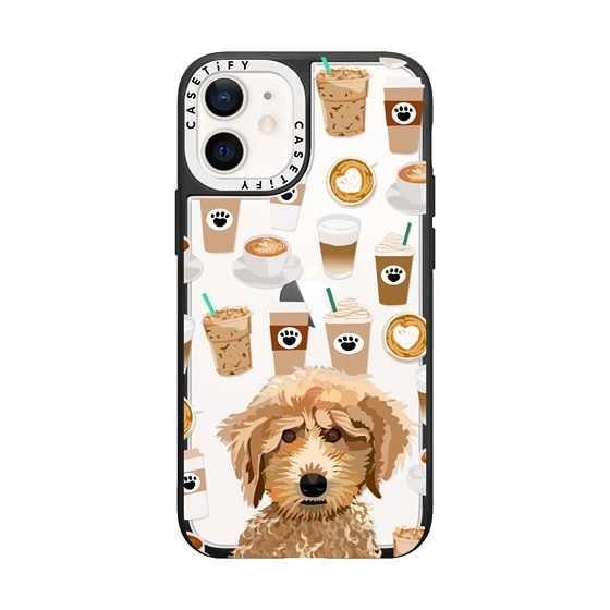 CASETiFY iPhone 12 mini Grip Case White Camera Ring - Poodle coffee clear phone case for unique dog
