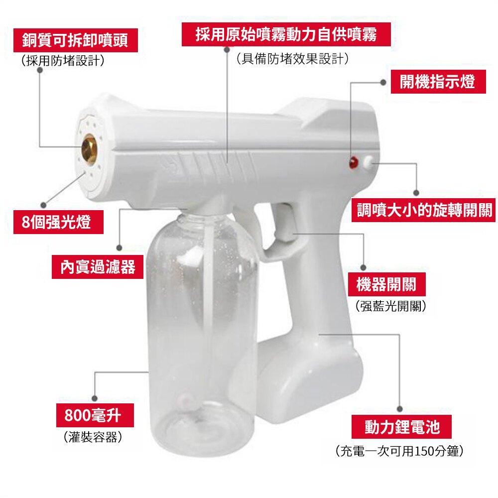 台灣出貨消毒槍 霧化消毒 藍光納米 噴霧槍 無線充電 納米霧化消毒槍 手持家用 家用汽车消毒仪除螨  防疫必備