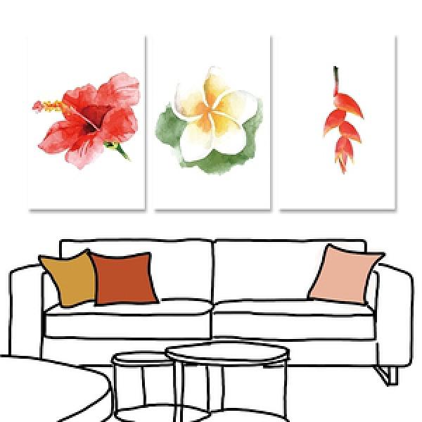 【24mama 掛畫】三聯式油畫布無框畫_40x60cm_熱帶植物04