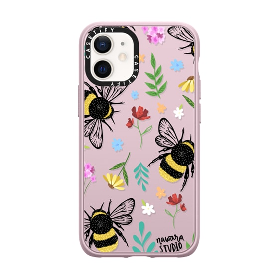 CASETiFY iPhone 12 mini Casetify Black Impact Resistance Case - Bees In Love
