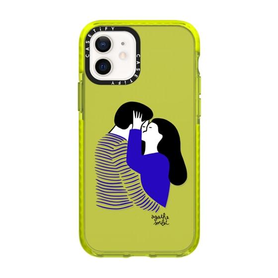CASETiFY iPhone 12 Impact Case - Blue Stripes Love
