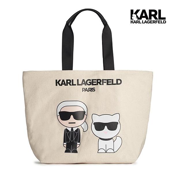 【KARL LAGERFELD】KRISTEN IKONIK&CHOUPETTE帆布托特包-米