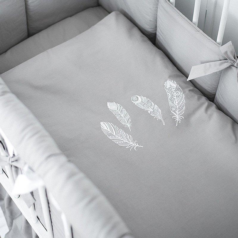 新生兒中性性別床上用品套件–會標床上用品-灰色苗圃