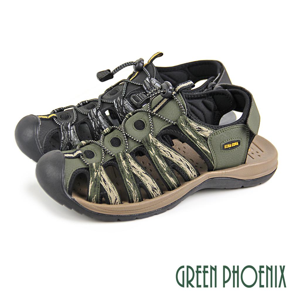 【GREEN PHOENIX 】男款數位迷彩鏤空束帶休閒護趾涼鞋/運動涼鞋/溯溪鞋T33-13356
