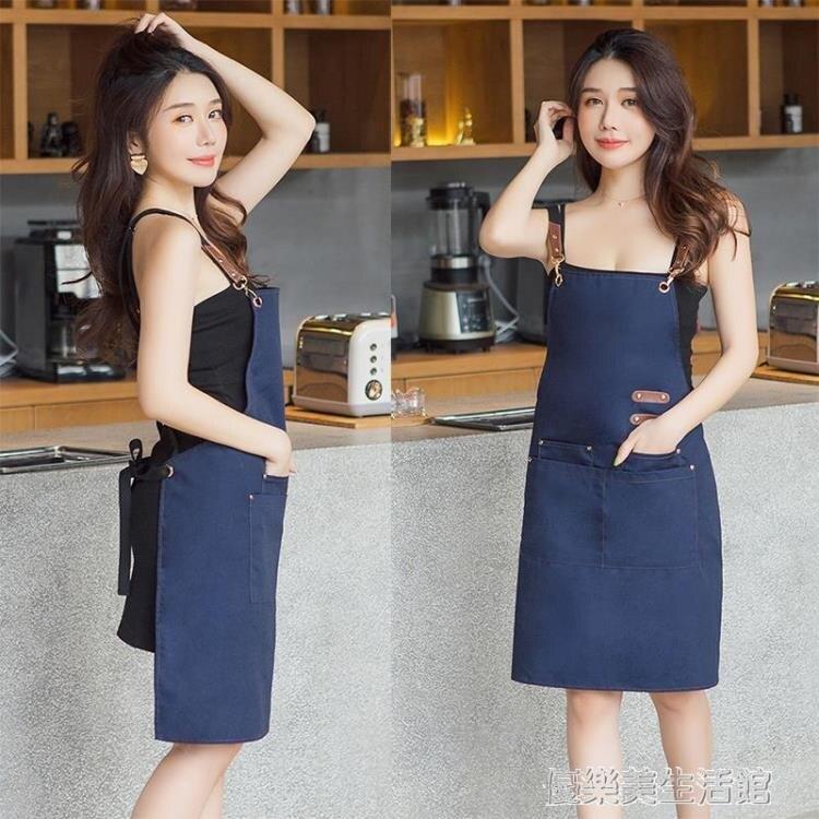 抖音同款定制圍裙印字服務員罩衣奶茶咖啡蛋糕店烘焙美甲印logo潮