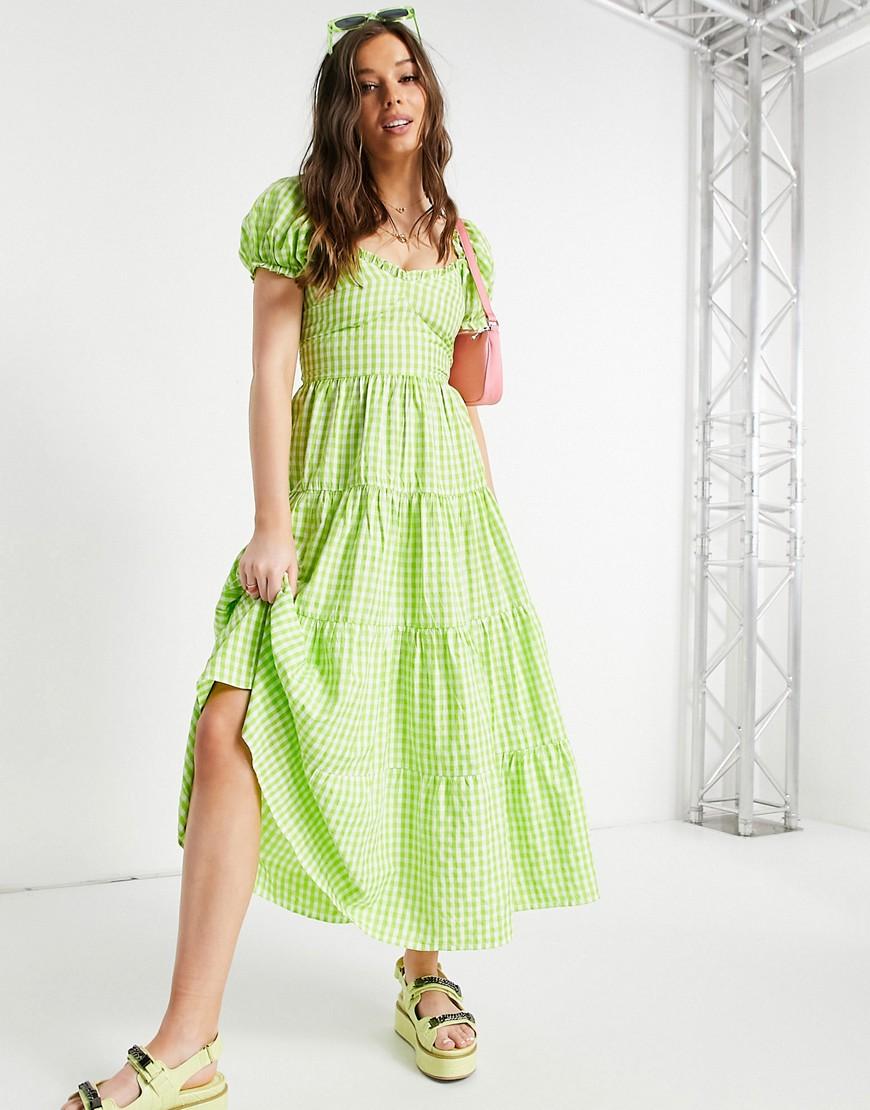 Stradivarius milkmaid poplin dress with puff sleeves in green gingham