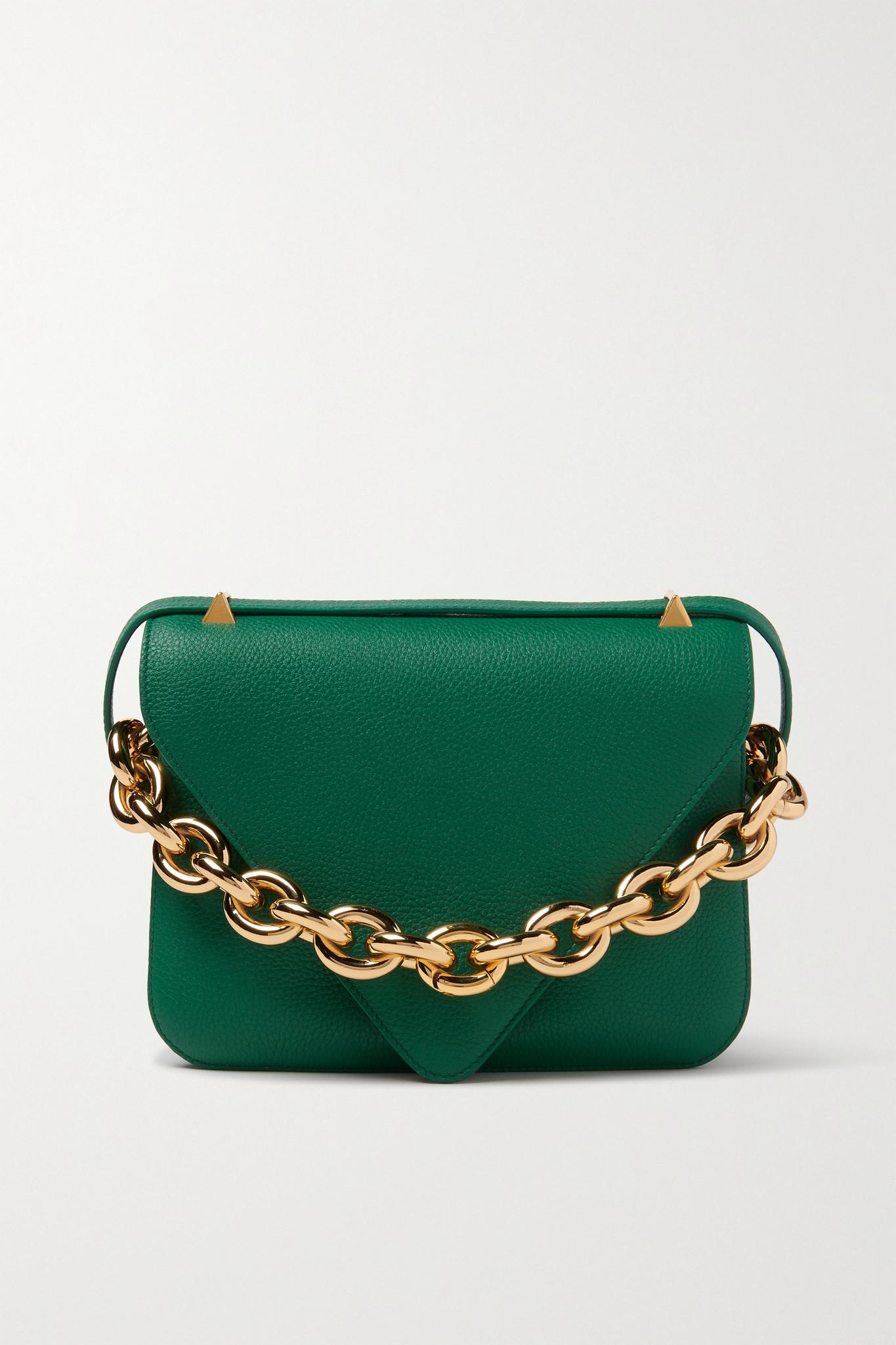BOTTEGA VENETA - Mount Small Textured-leather Shoulder Bag - Green - one size