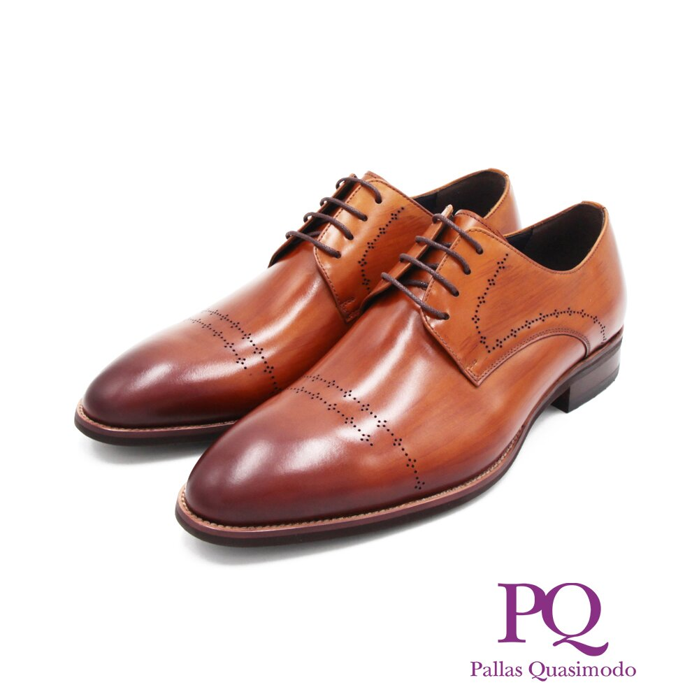 PQ(男)工藝木紋刷色綁帶紳士皮鞋 男鞋-棕