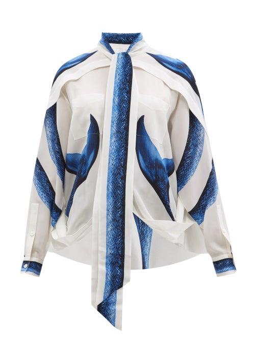 Burberry - Mermaid Tail-print Silk Cape Blouse - Womens - Blue White
