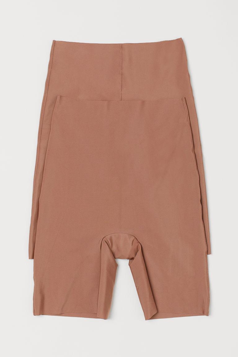 H & M - 2件入微塑身短褲 - 米黃色