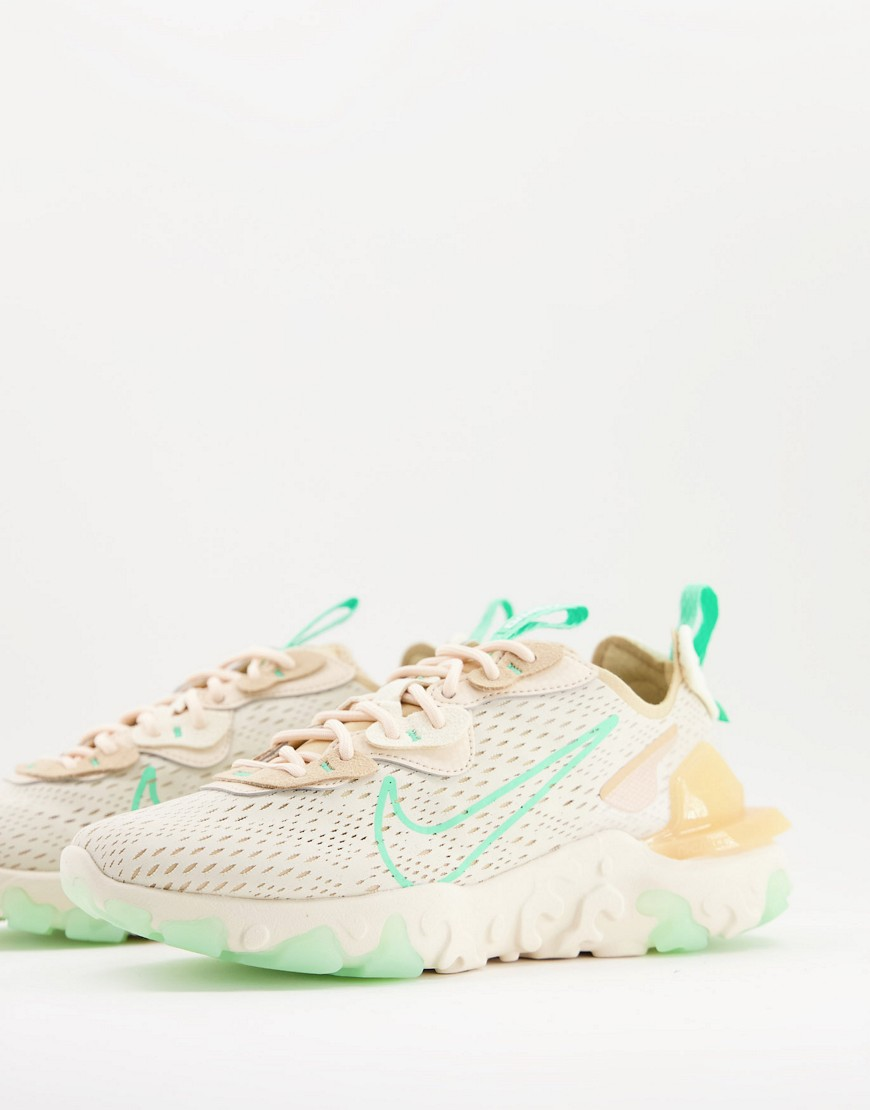 Nike React Vision trainers in beige and green glow-Neutral