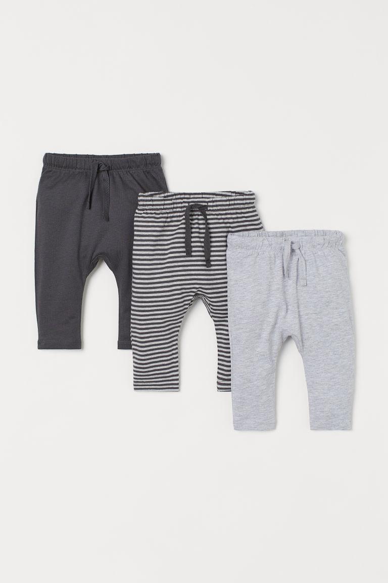 H & M - 3件入平紋長褲 - 灰色