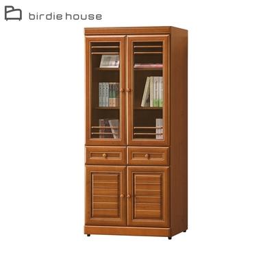 柏蒂家居-歐普拉2.7尺四門二抽書櫃/收納置物櫃/展示櫃-81x39x180cm