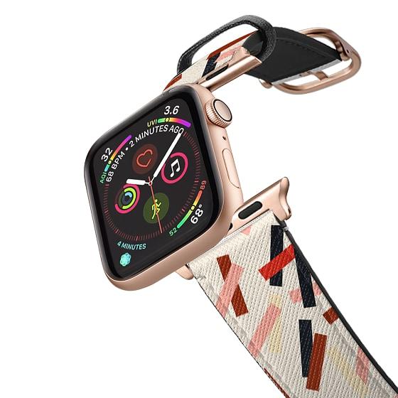 CASETiFY Apple Watch Band (38mm/40mm) Saffiano Leather Watchband V4 - Celebrate Confetti IWD - Beige
