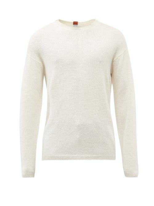 Loewe - Anagram-tab Crew-neck Sweater - Mens - White