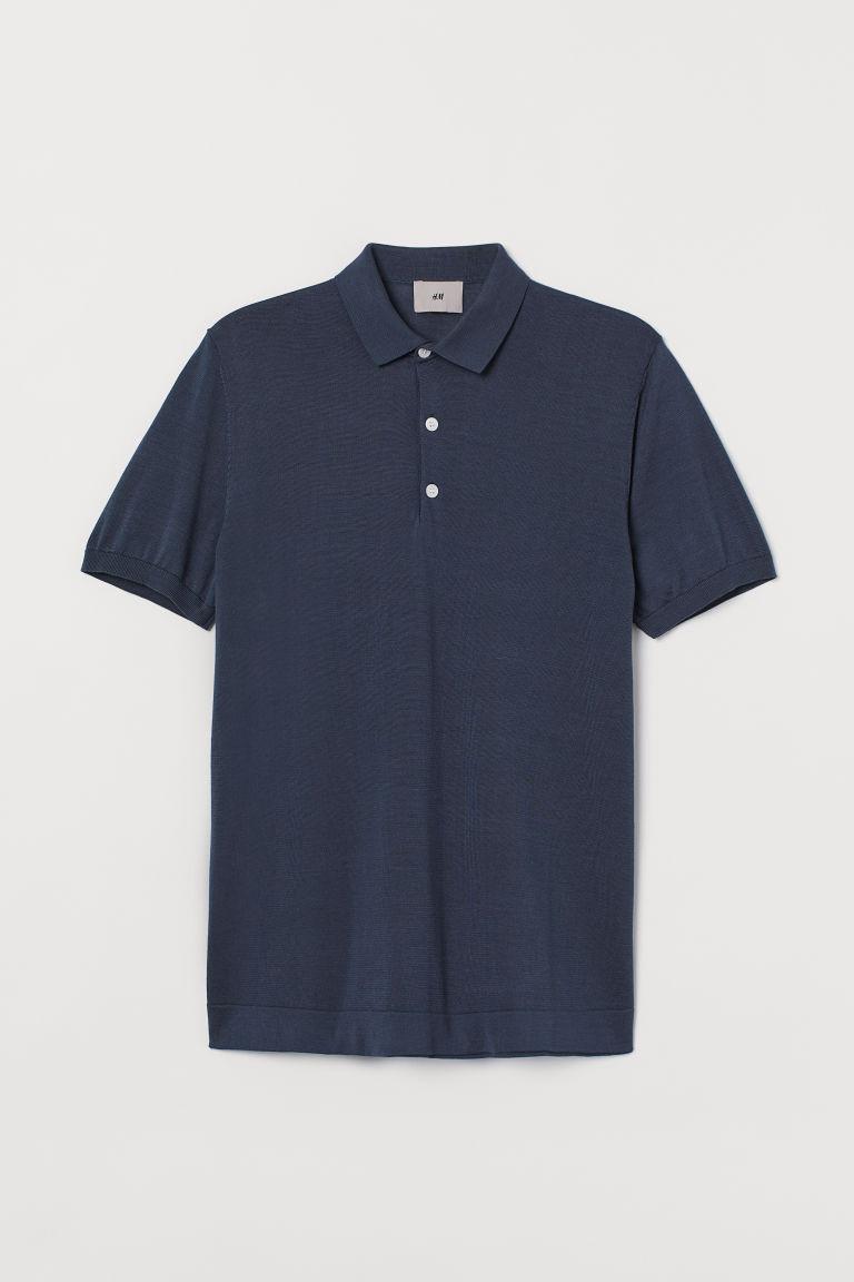 H & M - 真絲混紡Polo衫 - 藍色
