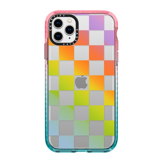 CASETiFY iPhone 11 Pro Max Impact Case - Check Mate - Rainbow Gradient