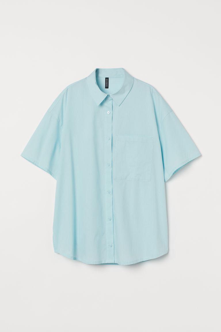 H & M - 加大碼棉質襯衫 - 藍綠色