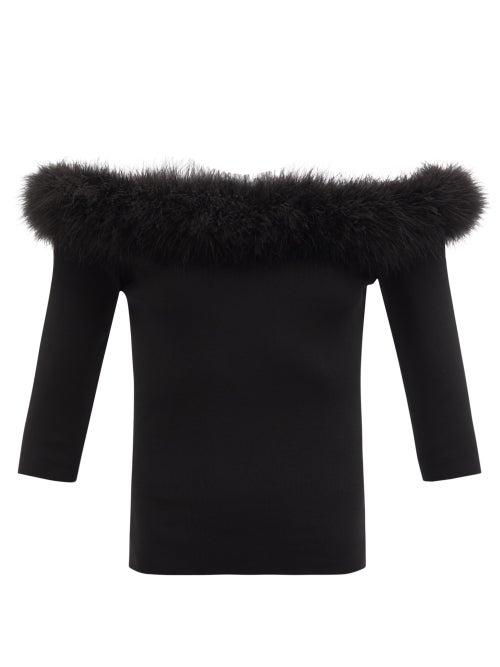 Saint Laurent - Off-the-shoulder Feather-trim Stretch-knit Top - Womens - Black