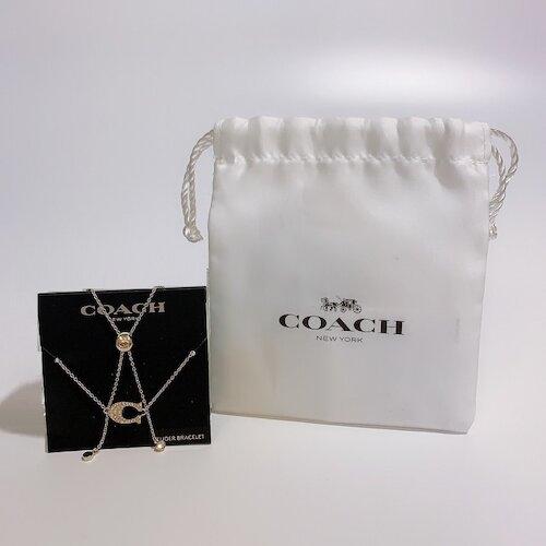 COACH 晶鑽 C LOGO造型 金色手鍊-附防塵袋- 91427-GLD