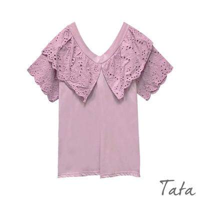 V領拼接緹花蕾絲上衣 共二色 TATA-F