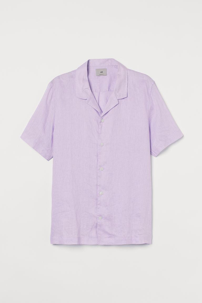 H & M - 標準剪裁亞麻襯衫 - 紫色
