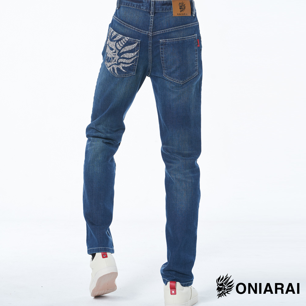 【6折限定】青海波側鬼無彈中腰直筒褲- BLUE WAY 鬼洗い