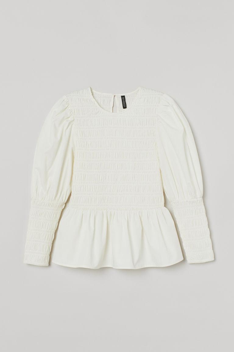 H & M - 府綢棉女衫 - 白色