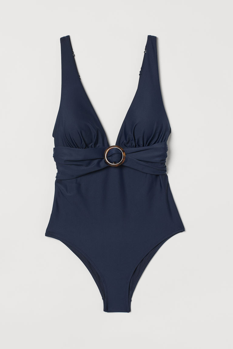 H & M - 塑身連身泳裝 - 藍色