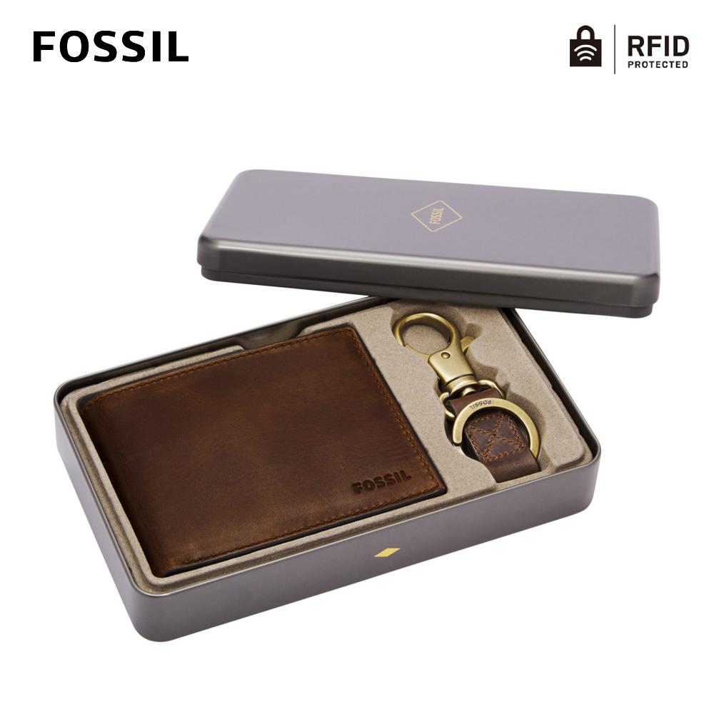 【FOSSIL】Derrick 真皮RFID防盜短夾鑰匙圈禮盒組-棕色 MLG0651201