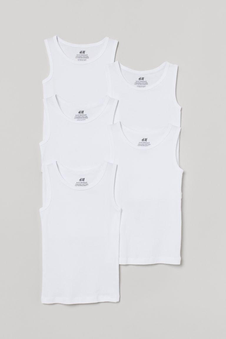 H & M - 5件入棉質背心上衣 - 白色