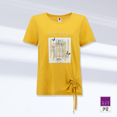 ILEY伊蕾 香水膠印字母燙鑽抽繩彈性上衣(黃)1212081202