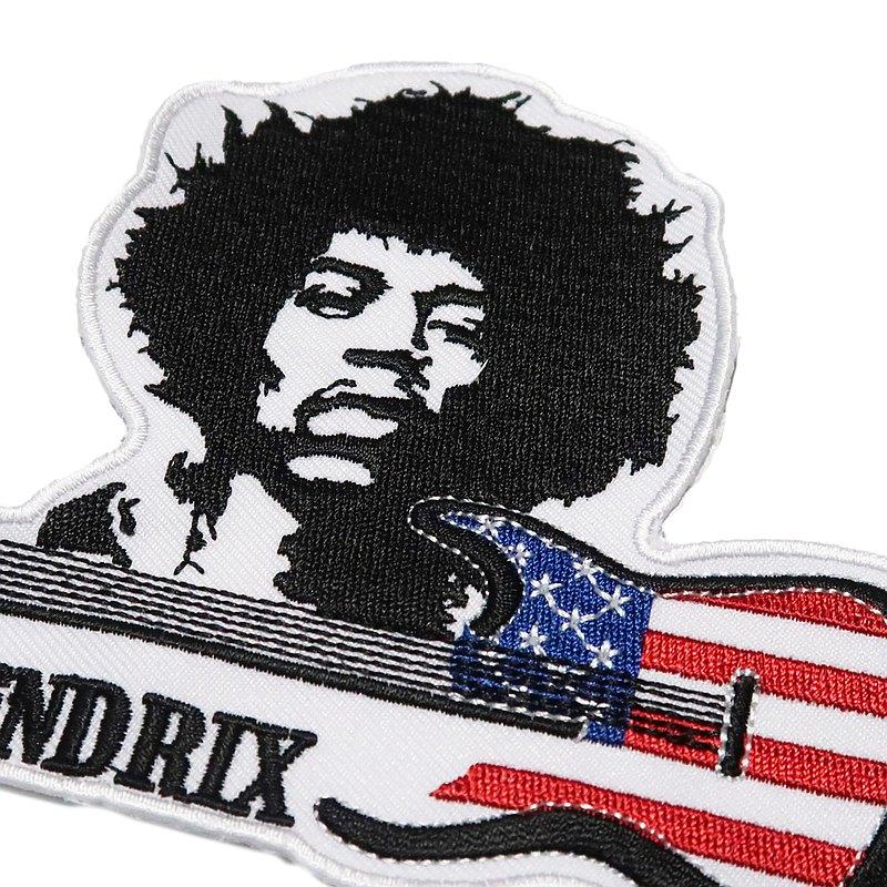 美國 Jimi 傳奇電吉他手  背膠皮夾 皮包 手機 刺繡貼布 電繡貼