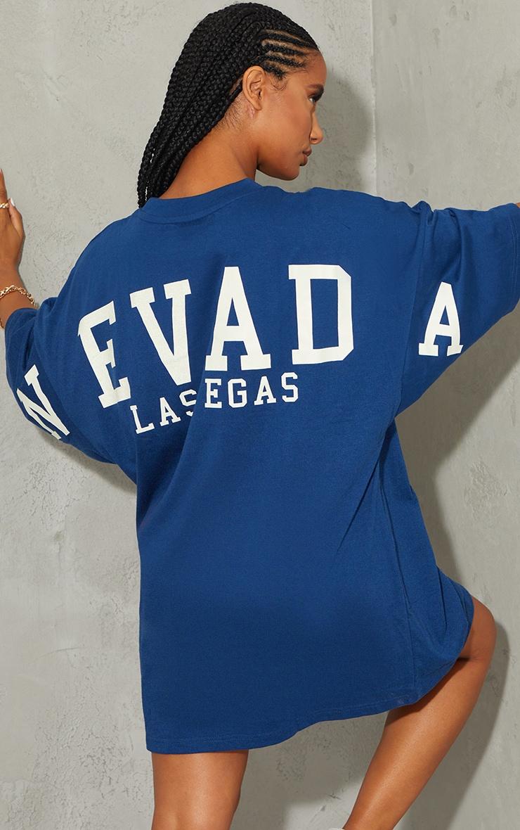 Navy Nevada Las Vegas Slogan Short Sleeve T Shirt Dress