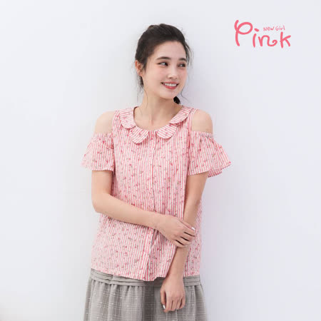 Pink* 俏麗花漾露肩條紋棉上衣 (2色 /M碼) T2214RD