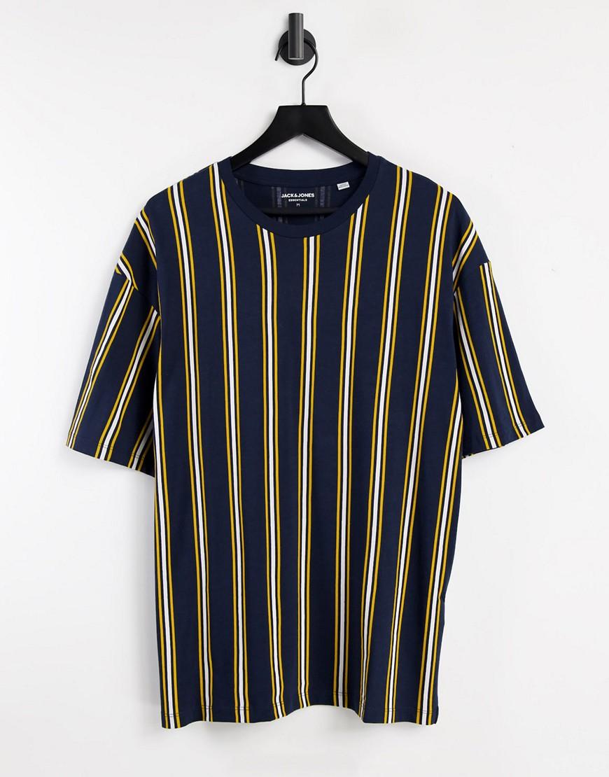 Jack & Jones Originals oversize vertical stripe t-shirt in navy