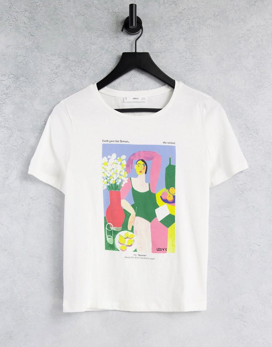Mango x Ana Leovy Womens Day organic cotton with graphic t-shirt in white