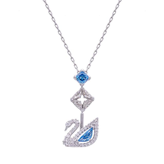 SWAROVSKI 施華洛世奇 藍色DAZZLING天鵝項鏈