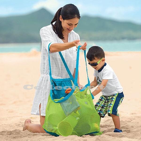 戶外兒童沙灘玩具快速收納袋 挖沙工具雜物收納網袋