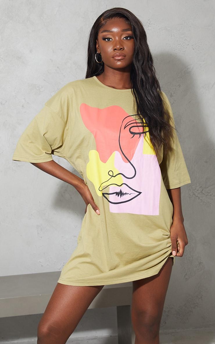 Tall Sage Green Contrast Block Face Illustration T-Shirt Dress
