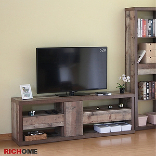 【RICHOME】奈德六呎視聽櫃托盤木紋色