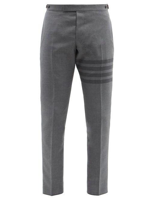 Thom Browne - Striped Slim-leg Wool-blend Twill Trousers - Mens - Grey