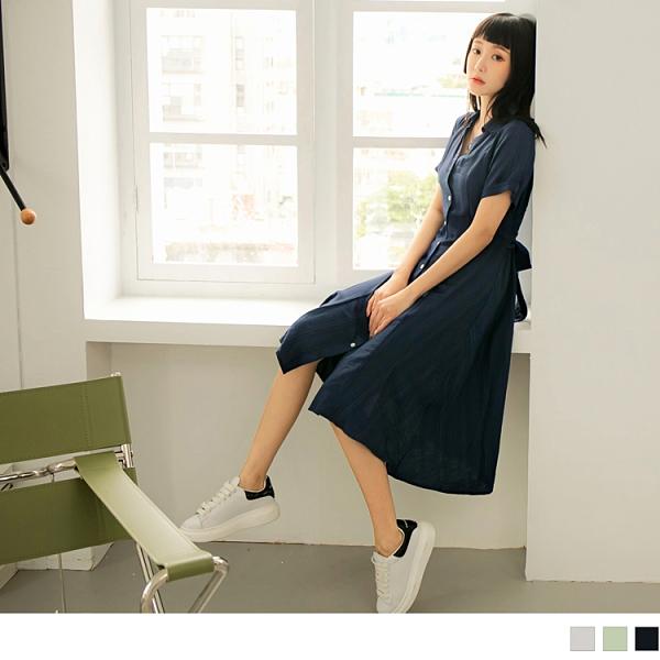 《DA8592-》高含棉觸膚涼感開襟翻領綁帶洋裝 OB嚴選