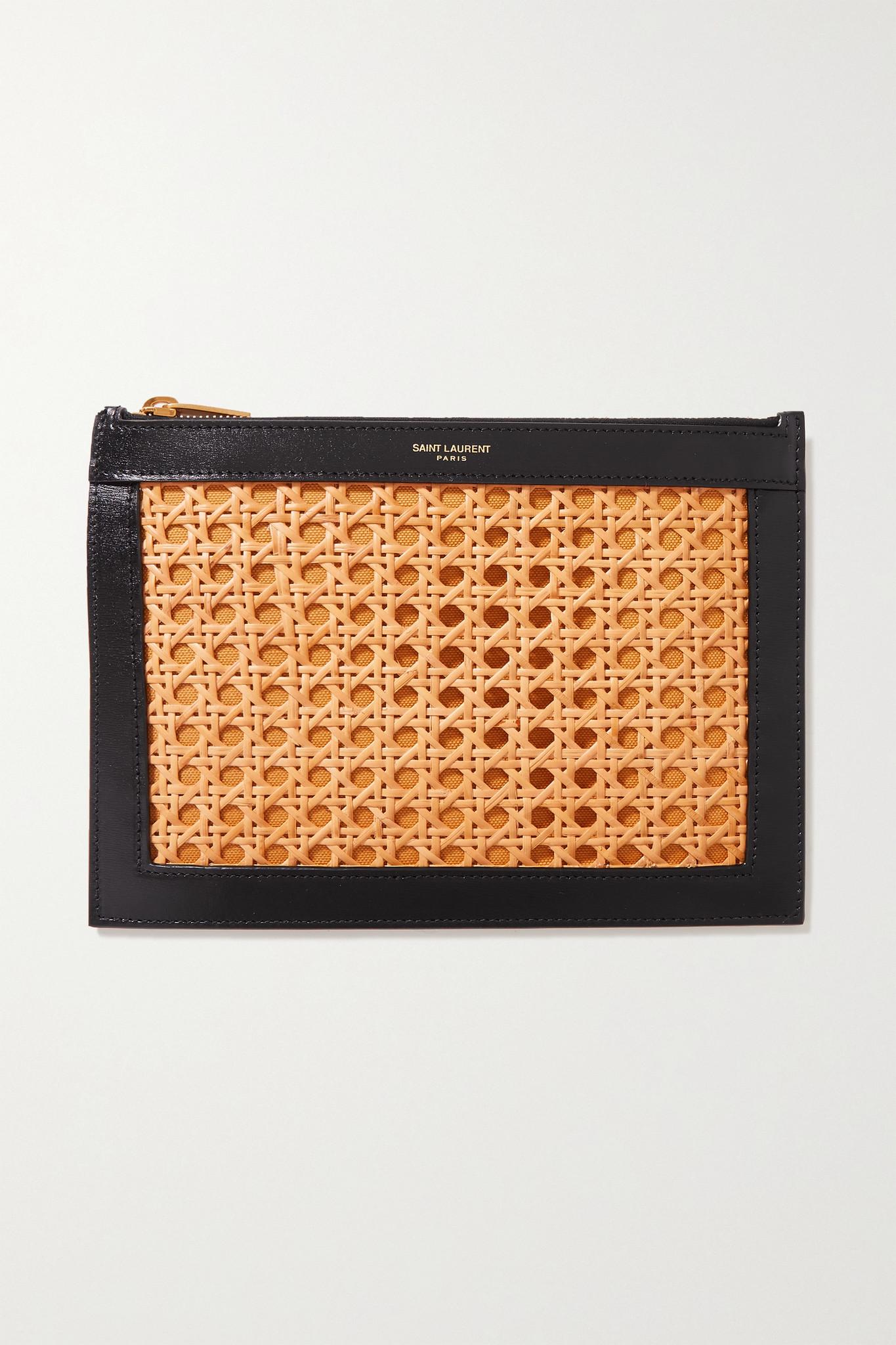 SAINT LAURENT - Medium Leather, Cane And Canvas Pouch - Black - one size
